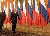 Po uvítání prezidenta Medveděva na Pražském hradě