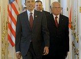 Příchod prezidentů na bilaterální jednání ČR a USA