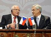 Společná tisková konference českého a chilského prezidenta