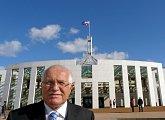 Prezident před australským parlamentem v Canbeře