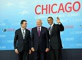 Uvítání prezidentem Obamou a generálním tajemníkem NATO Rasmussenem