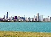 Skyline Chicaga, jak je vidět od Adlerova planetária