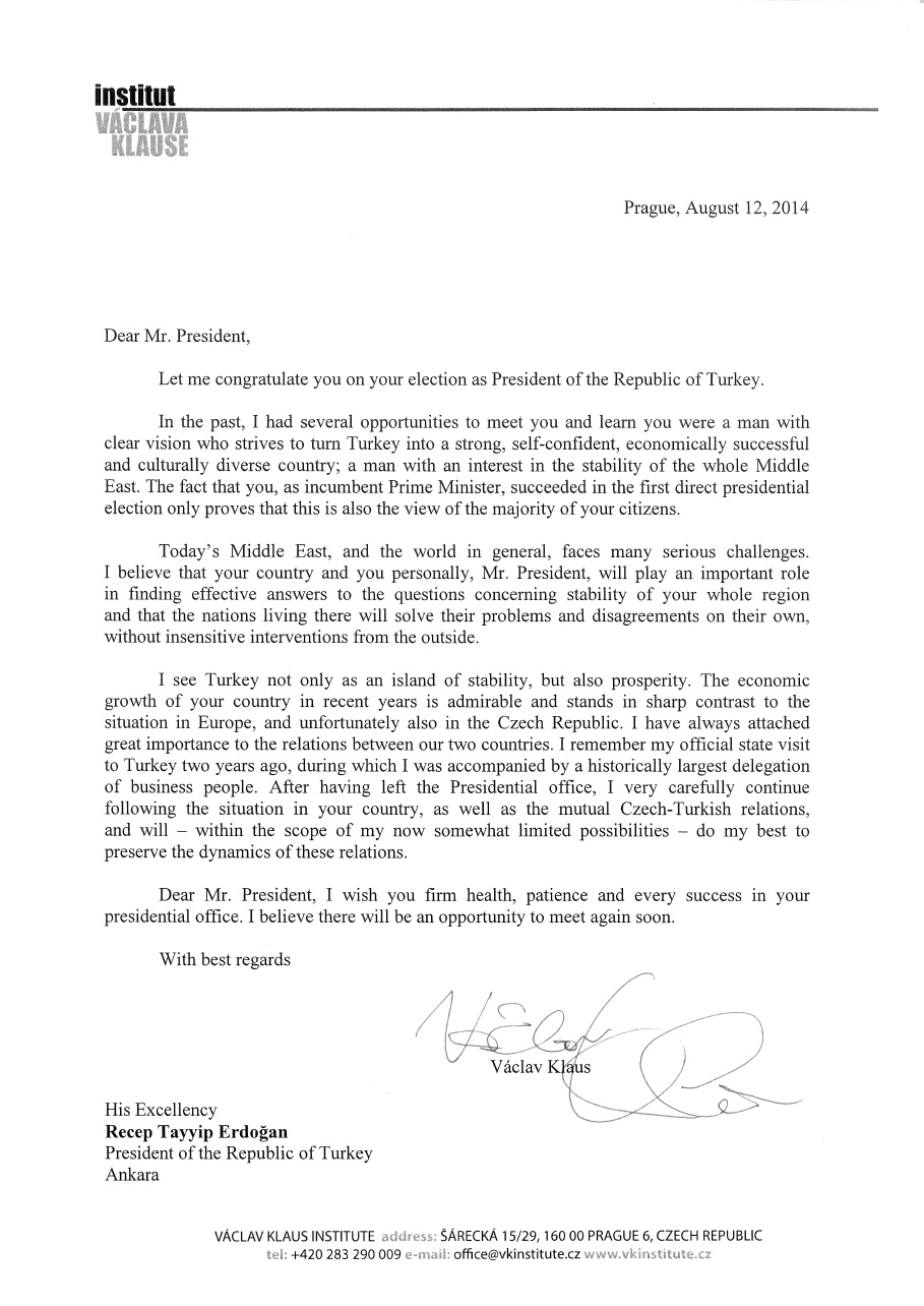 Vclav klaus sent a letter of congratulation to recep tayyip erdoan vclav klaus sent a letter of congratulation to recep tayyip erdoan altavistaventures Choice Image