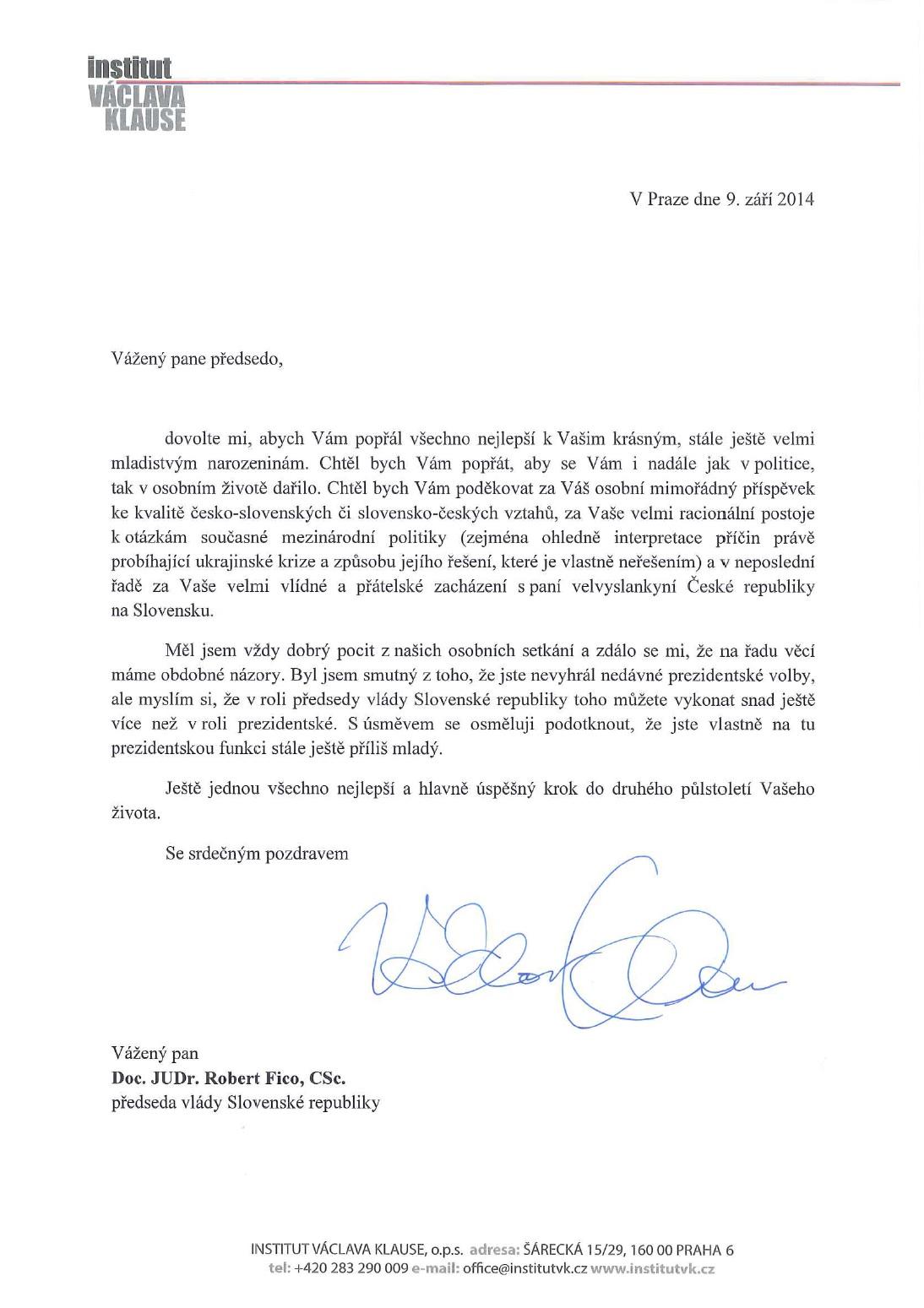 dopis k narozeninám Blahopřejný dopis Václava Klause Robertu Ficovi k narozeninám  dopis k narozeninám