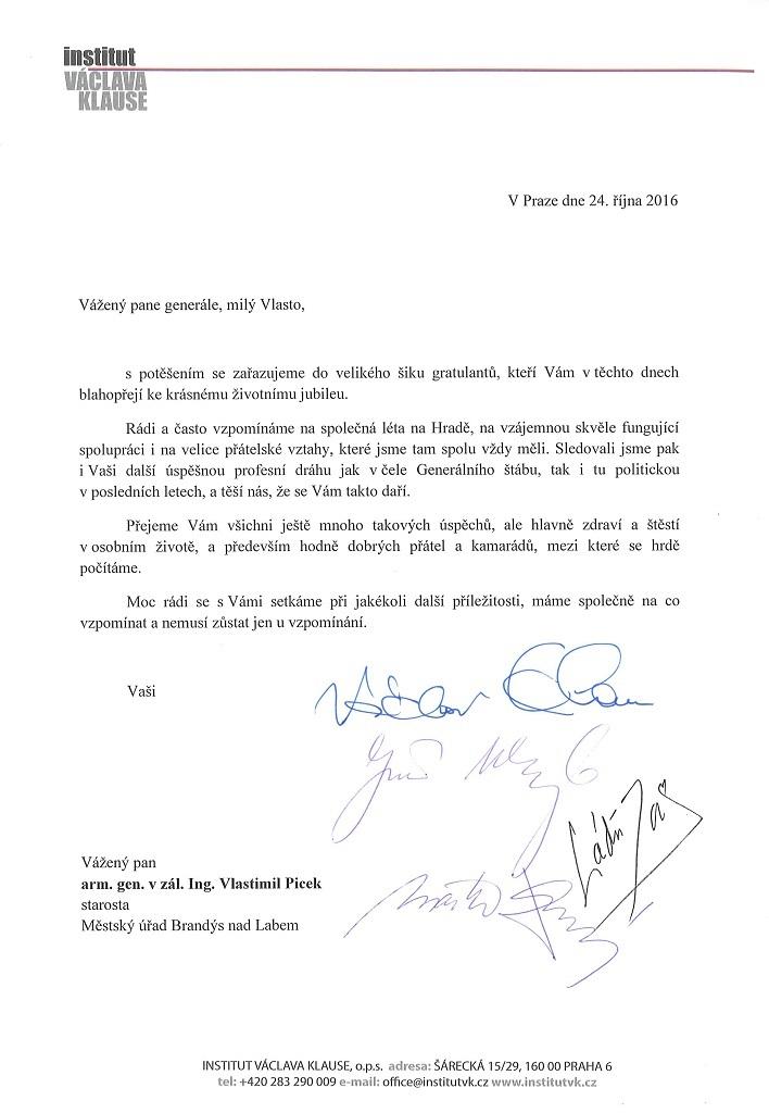 dopis k narozeninám Blahopřejný dopis Vlastimilu Pickovi k narozeninám | Václav Klaus dopis k narozeninám