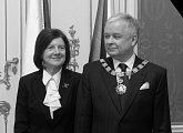 Lech Kaczyński s paní Marií po udělení Řádu bílého lva